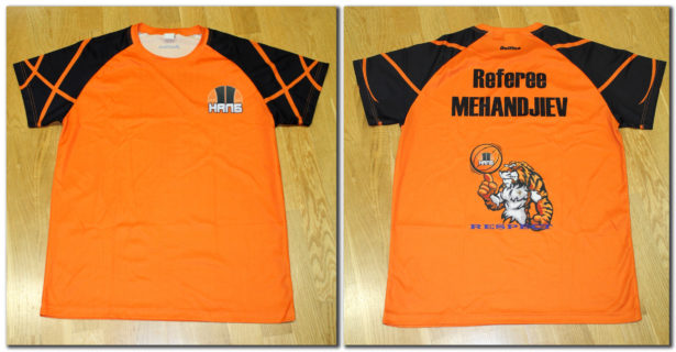 """Персонализирана оранжева тениска (без надписа """"Referee"""" и без картинката на гърба) – 23.00 лева*"""
