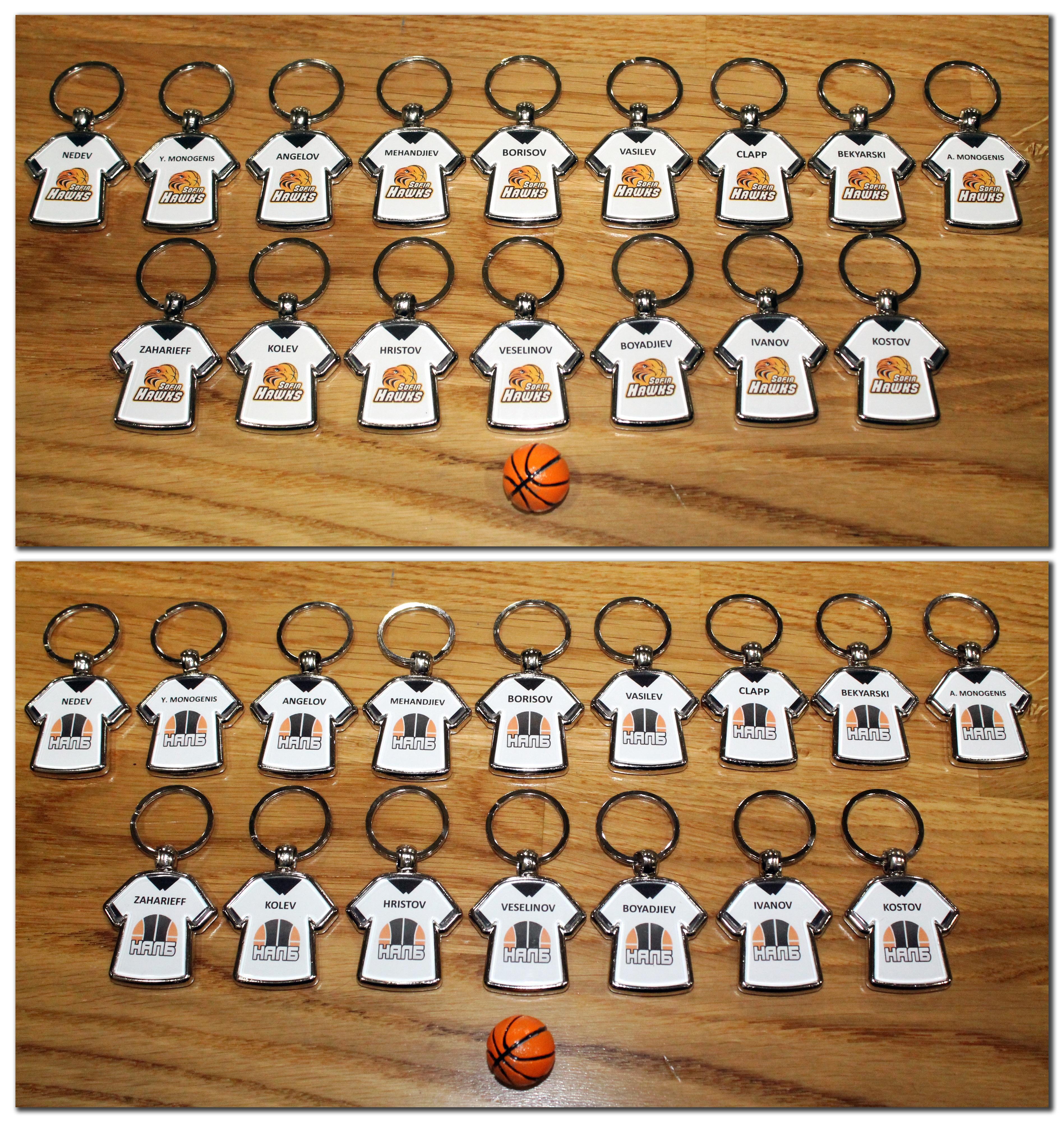 Персонализирани метални ключодържатели с имена и емблема на отбор за цял отбор (поръчка за поне 10 ключодържателя) - 5.00 лева/ключодържател*